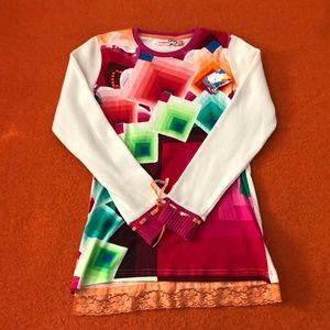 Desigual 100% cotton girl's colorful sweater NWT